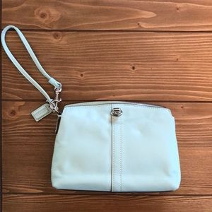 Seafoam leather coach wristlet